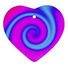 Swirl Pink Turquoise Abstract Ornament (heart) by BrightVibesDesign