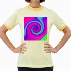 Swirl Pink Turquoise Abstract Women s Fitted Ringer T Shirts by BrightVibesDesign