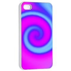 Swirl Pink Turquoise Abstract Apple Iphone 4/4s Seamless Case (white) by BrightVibesDesign