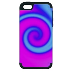 Swirl Pink Turquoise Abstract Apple Iphone 5 Hardshell Case (pc+silicone) by BrightVibesDesign