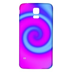 Swirl Pink Turquoise Abstract Samsung Galaxy S5 Back Case (white) by BrightVibesDesign