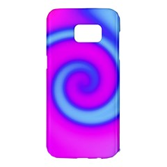 Swirl Pink Turquoise Abstract Samsung Galaxy S7 Edge Hardshell Case by BrightVibesDesign