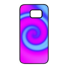 Swirl Pink Turquoise Abstract Samsung Galaxy S7 Edge Black Seamless Case by BrightVibesDesign