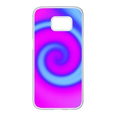 Swirl Pink Turquoise Abstract Samsung Galaxy S7 Edge White Seamless Case by BrightVibesDesign