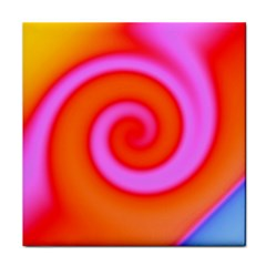 Swirl Orange Pink Abstract Tile Coasters by BrightVibesDesign