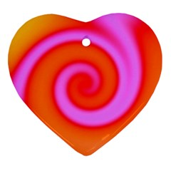 Swirl Orange Pink Abstract Ornament (heart) by BrightVibesDesign