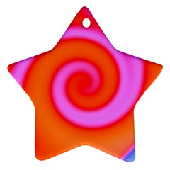 Swirl Orange Pink Abstract Ornament (star) by BrightVibesDesign