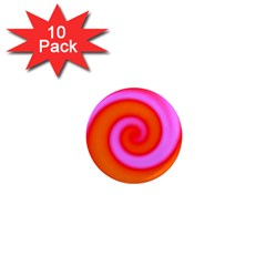 Swirl Orange Pink Abstract 1  Mini Magnet (10 Pack)  by BrightVibesDesign