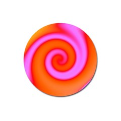 Swirl Orange Pink Abstract Magnet 3  (round) by BrightVibesDesign