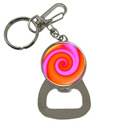 Swirl Orange Pink Abstract Bottle Opener Key Chains by BrightVibesDesign
