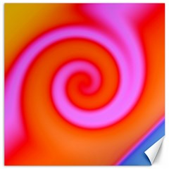 Swirl Orange Pink Abstract Canvas 20  X 20   by BrightVibesDesign