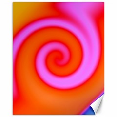 Swirl Orange Pink Abstract Canvas 11  X 14   by BrightVibesDesign