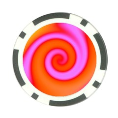 Swirl Orange Pink Abstract Poker Chip Card Guard by BrightVibesDesign