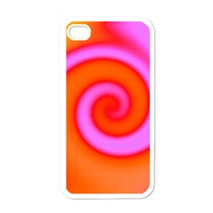 Swirl Orange Pink Abstract Apple Iphone 4 Case (white) by BrightVibesDesign