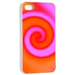 Swirl Orange Pink Abstract Apple Iphone 4/4s Seamless Case (white) by BrightVibesDesign