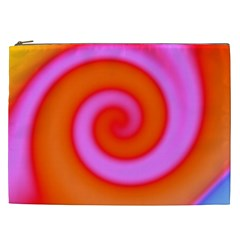 Swirl Orange Pink Abstract Cosmetic Bag (xxl)  by BrightVibesDesign