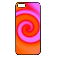 Swirl Orange Pink Abstract Apple Iphone 5 Seamless Case (black) by BrightVibesDesign