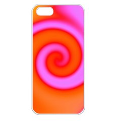 Swirl Orange Pink Abstract Apple Iphone 5 Seamless Case (white) by BrightVibesDesign