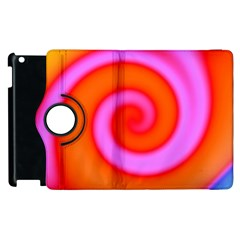 Swirl Orange Pink Abstract Apple Ipad 3/4 Flip 360 Case by BrightVibesDesign