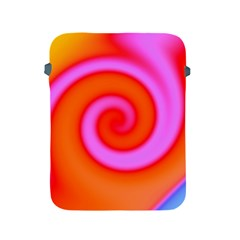 Swirl Orange Pink Abstract Apple Ipad 2/3/4 Protective Soft Cases by BrightVibesDesign