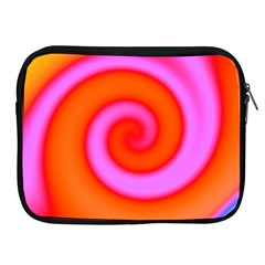 Swirl Orange Pink Abstract Apple Ipad 2/3/4 Zipper Cases by BrightVibesDesign