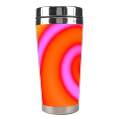 Swirl Orange Pink Abstract Stainless Steel Travel Tumblers by BrightVibesDesign