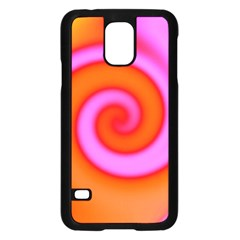Swirl Orange Pink Abstract Samsung Galaxy S5 Case (black) by BrightVibesDesign