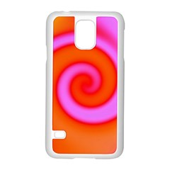 Swirl Orange Pink Abstract Samsung Galaxy S5 Case (white) by BrightVibesDesign