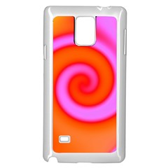 Swirl Orange Pink Abstract Samsung Galaxy Note 4 Case (white) by BrightVibesDesign