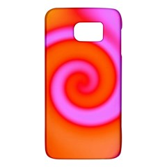 Swirl Orange Pink Abstract Galaxy S6 by BrightVibesDesign