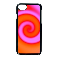 Swirl Orange Pink Abstract Apple Iphone 8 Seamless Case (black) by BrightVibesDesign