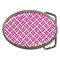 Woven2 White Marble & Pink Leather (r) Belt Buckles by trendistuff
