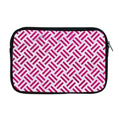 Woven2 White Marble & Pink Leather (r) Apple Macbook Pro 17  Zipper Case by trendistuff
