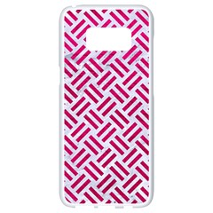 Woven2 White Marble & Pink Leather (r) Samsung Galaxy S8 White Seamless Case by trendistuff