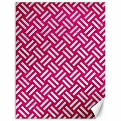Woven2 White Marble & Pink Leather Canvas 12  X 16   by trendistuff
