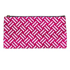 Woven2 White Marble & Pink Leather Pencil Cases by trendistuff