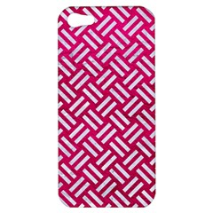 Woven2 White Marble & Pink Leather Apple Iphone 5 Hardshell Case