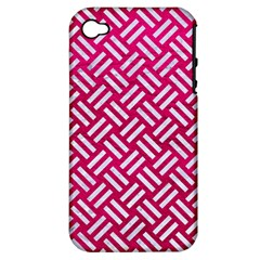 Woven2 White Marble & Pink Leather Apple Iphone 4/4s Hardshell Case (pc+silicone) by trendistuff