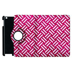 Woven2 White Marble & Pink Leather Apple Ipad 2 Flip 360 Case by trendistuff