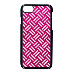 Woven2 White Marble & Pink Leather Apple Iphone 8 Seamless Case (black) by trendistuff