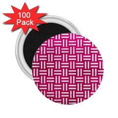 Woven1 White Marble & Pink Leather 2 25  Magnets (100 Pack)  by trendistuff