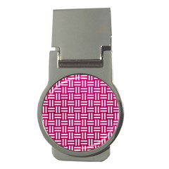 Woven1 White Marble & Pink Leather Money Clips (round)