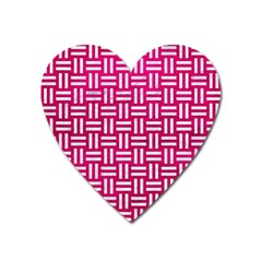 Woven1 White Marble & Pink Leather Heart Magnet by trendistuff
