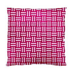 Woven1 White Marble & Pink Leather Standard Cushion Case (two Sides) by trendistuff