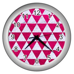 Triangle3 White Marble & Pink Leather Wall Clocks (silver)  by trendistuff