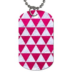 Triangle3 White Marble & Pink Leather Dog Tag (two Sides) by trendistuff
