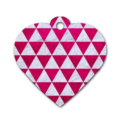 Triangle3 White Marble & Pink Leather Dog Tag Heart (two Sides) by trendistuff