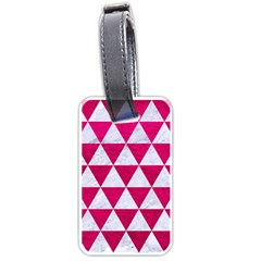Triangle3 White Marble & Pink Leather Luggage Tags (one Side)  by trendistuff