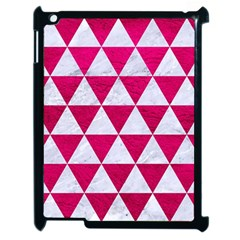 Triangle3 White Marble & Pink Leather Apple Ipad 2 Case (black) by trendistuff