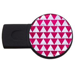 Triangle2 White Marble & Pink Leather Usb Flash Drive Round (2 Gb) by trendistuff